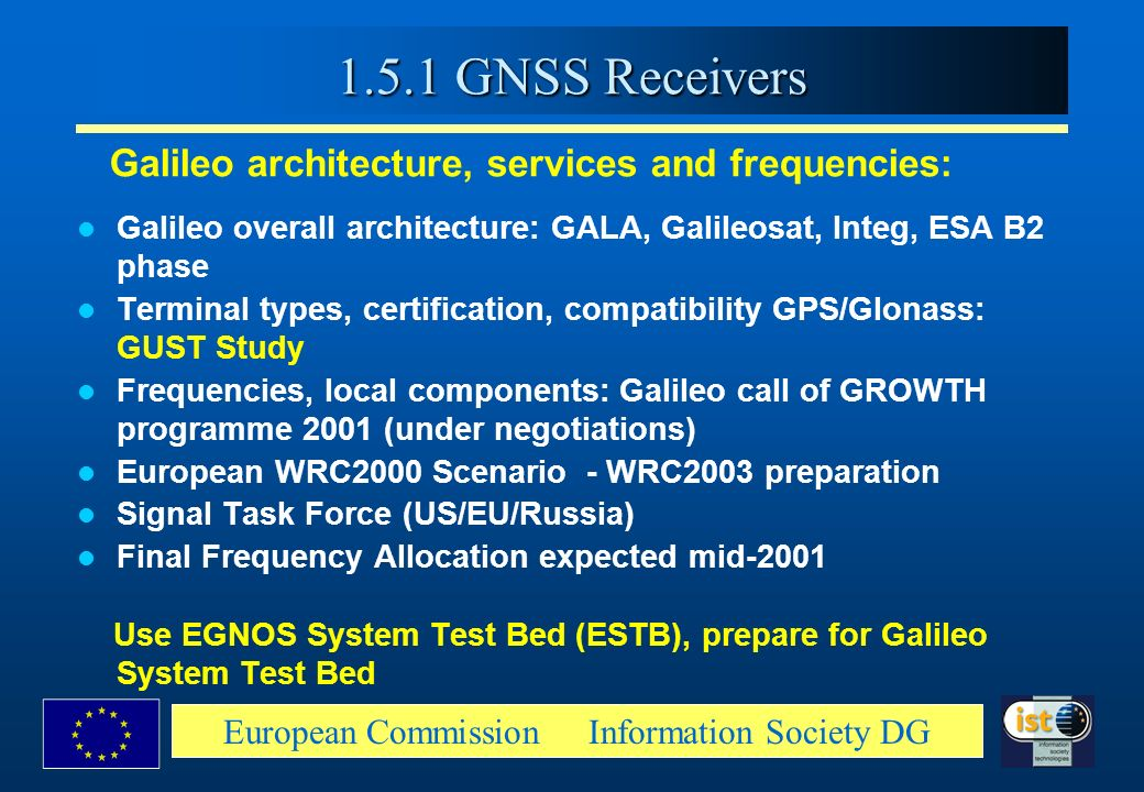 European Commission Information Society DG Galileo architecture, services and frequencies: Galileo overall architecture: GALA, Galileosat, Integ, ESA