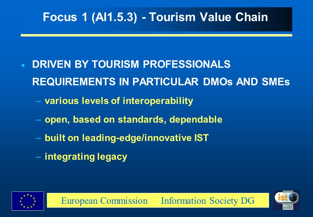 European Commission Information Society DG Focus 1 (Al1.5.3) - Tourism Value Chain DRIVEN BY TOURISM PROFESSIONALS REQUIREMENTS IN PARTICULAR DMOs AND