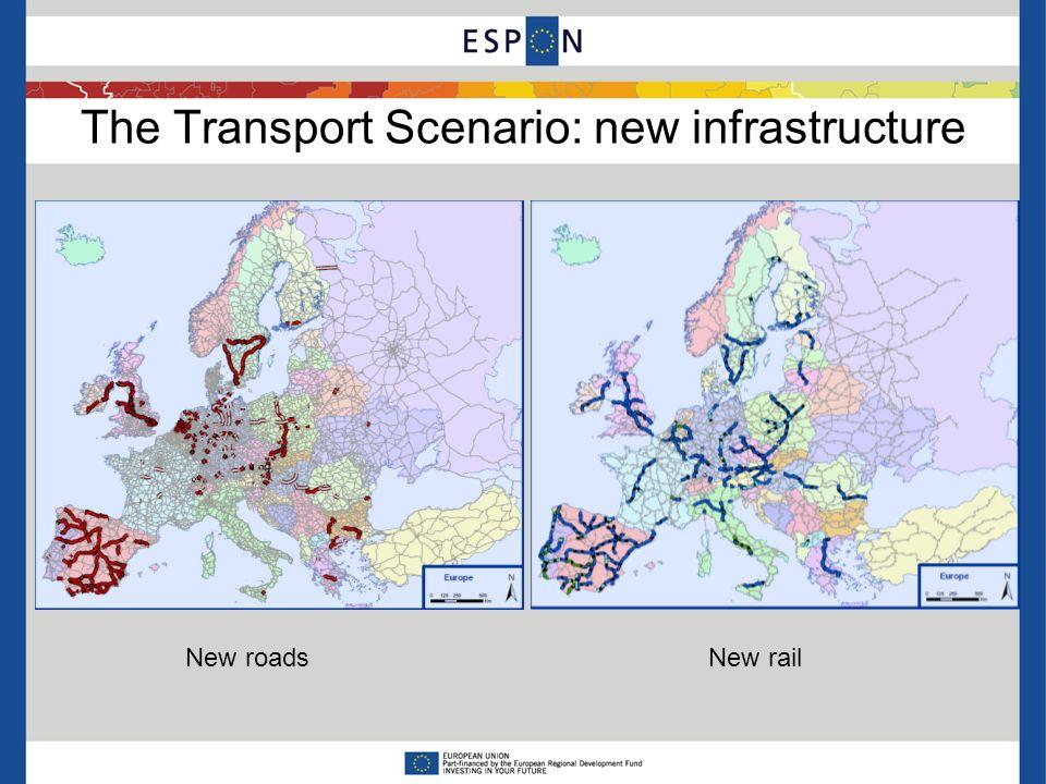 The Transport Scenario: new infrastructure New roadsNew rail