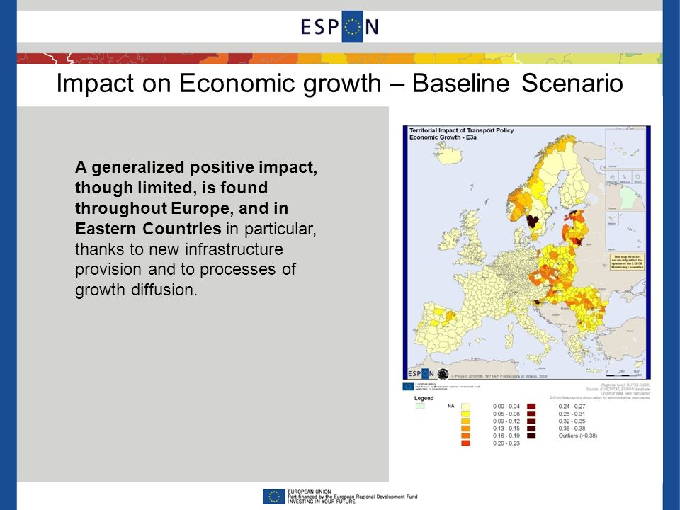 Impact on Economic growth – Baseline Scenario A generalized positive impact, though limited, is found throughout Europe, and in Eastern Countries in p