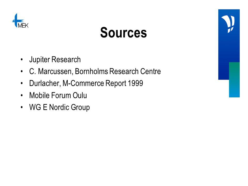 Sources Jupiter Research C. Marcussen, Bornholms Research Centre Durlacher, M-Commerce Report 1999 Mobile Forum Oulu WG E Nordic Group