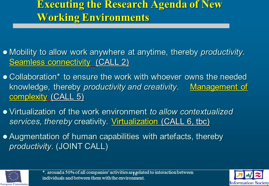 16 Executing the Research Agenda of New Working Environments Mobility to allow work anywhere at anytime, thereby productivity.