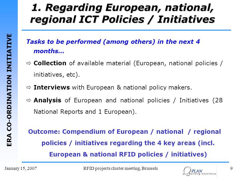 ERA CO-ORDINATION INITIATIVE January 15, 2007RFID projects cluster meeting, Brussels9 1. Regarding European, national, regional ICT Policies / Initiat