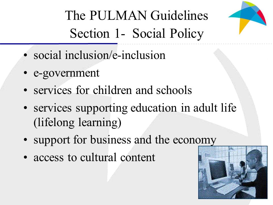 The PULMAN Guidelines Section 1- Social Policy social inclusion/e-inclusion e-government services for children and schools services supporting educati