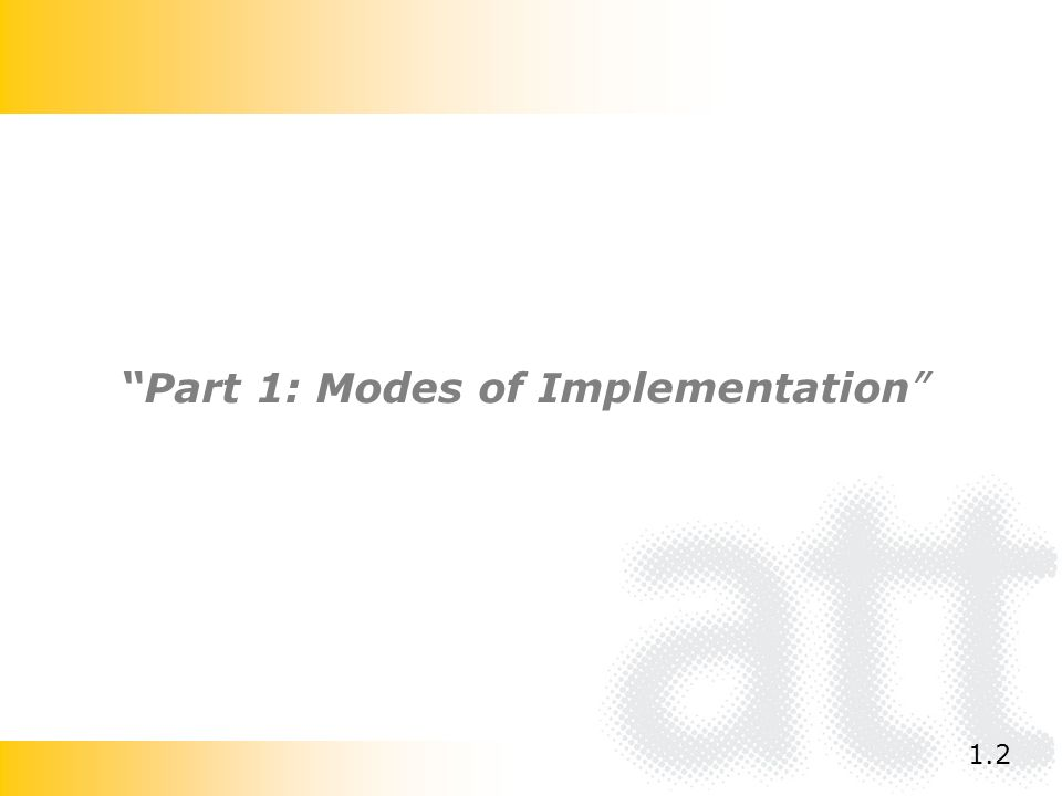 Part 1: Modes of Implementation 1.2