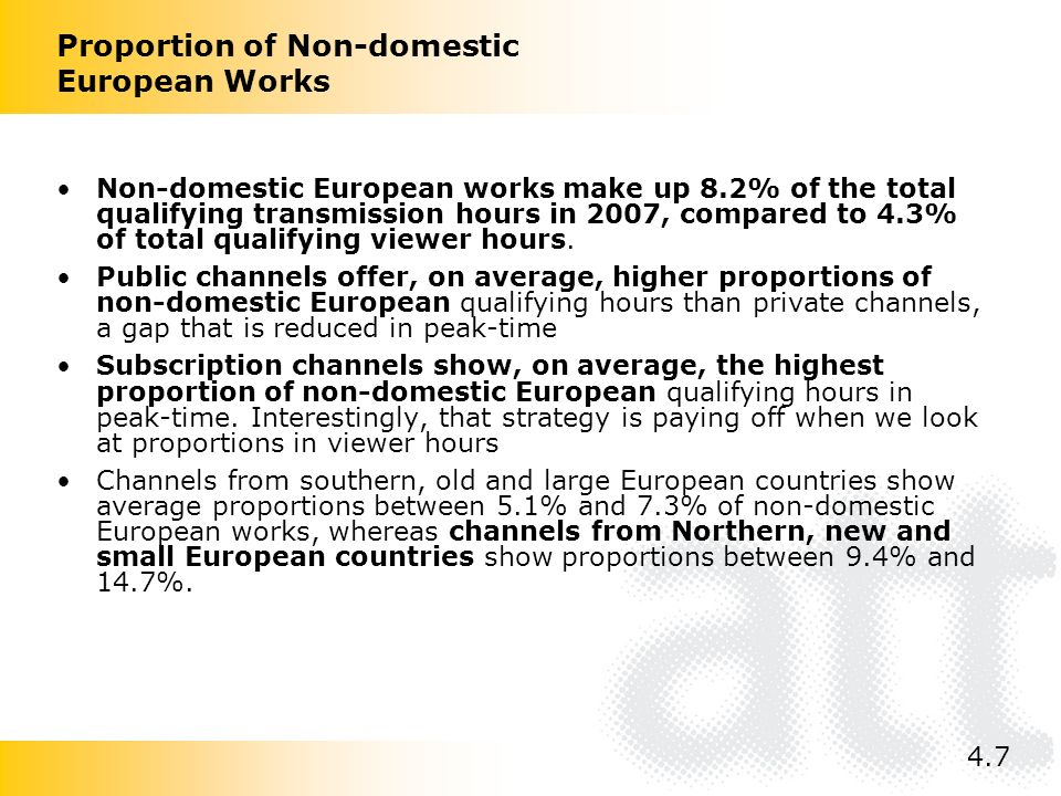 Non-domestic European works make up 8.2% of the total qualifying transmission hours in 2007, compared to 4.3% of total qualifying viewer hours.