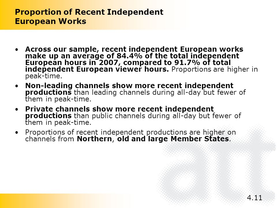 Across our sample, recent independent European works make up an average of 84.4% of the total independent European hours in 2007, compared to 91.7% of total independent European viewer hours.