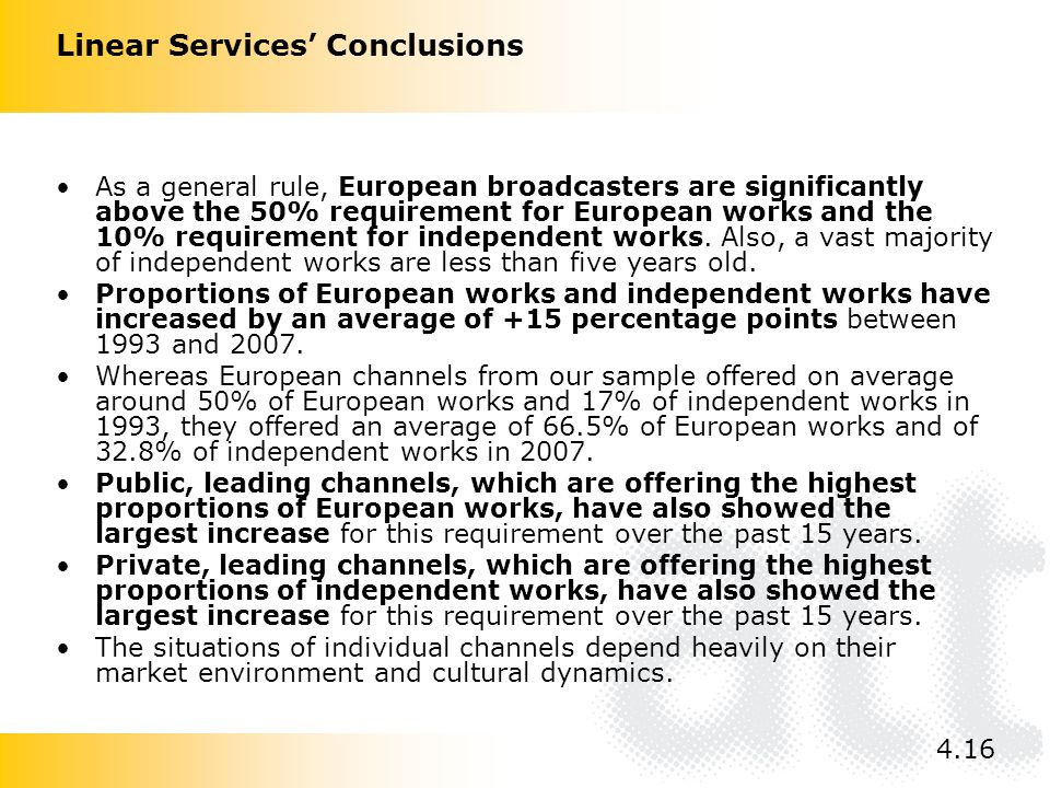 As a general rule, European broadcasters are significantly above the 50% requirement for European works and the 10% requirement for independent works.