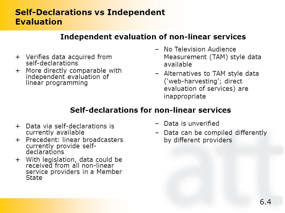 Self-Declarations vs Independent Evaluation +Verifies data acquired from self-declarations +More directly comparable with independent evaluation of li