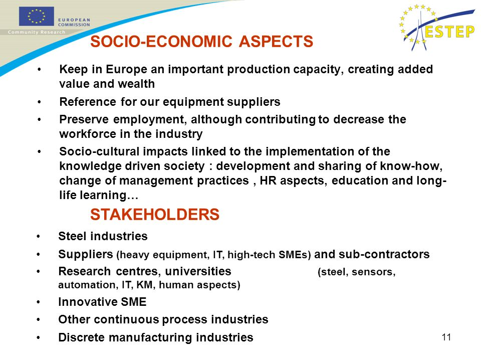 11 Keep in Europe an important production capacity, creating added value and wealth Reference for our equipment suppliers Preserve employment, although contributing to decrease the workforce in the industry Socio-cultural impacts linked to the implementation of the knowledge driven society : development and sharing of know-how, change of management practices, HR aspects, education and long- life learning… SOCIO-ECONOMIC ASPECTS STAKEHOLDERS Steel industries Suppliers (heavy equipment, IT, high-tech SMEs) and sub-contractors Research centres, universities (steel, sensors, automation, IT, KM, human aspects) Innovative SME Other continuous process industries Discrete manufacturing industries