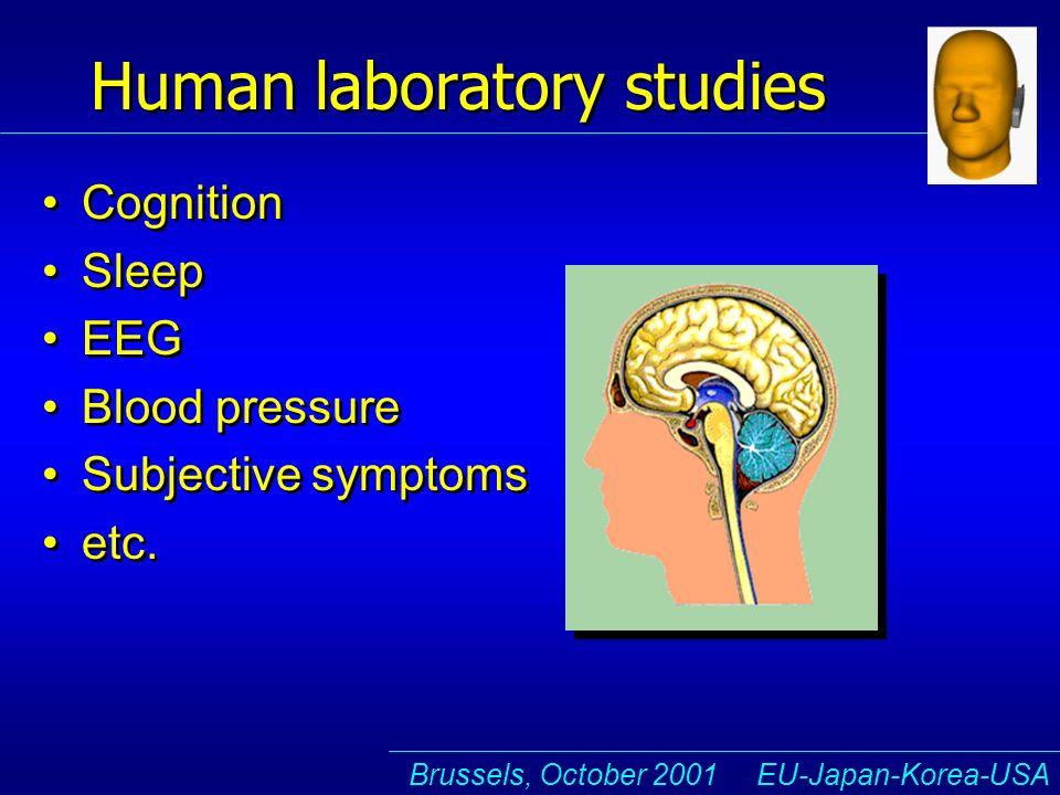 Brussels, October 2001 EU-Japan-Korea-USA Human laboratory studies Cognition Sleep EEG Blood pressure Subjective symptoms etc.