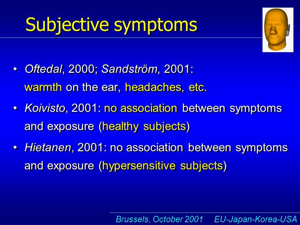 Brussels, October 2001 EU-Japan-Korea-USA Subjective symptoms Oftedal, 2000; Sandström, 2001: warmth on the ear, headaches, etc.
