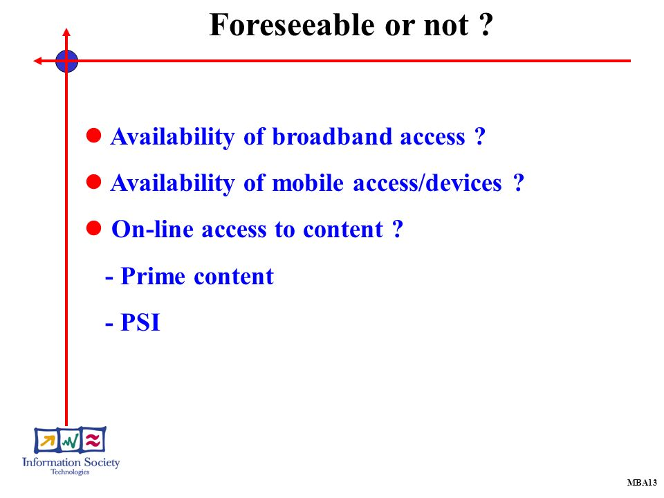 MBA13 Availability of broadband access . Availability of mobile access/devices .