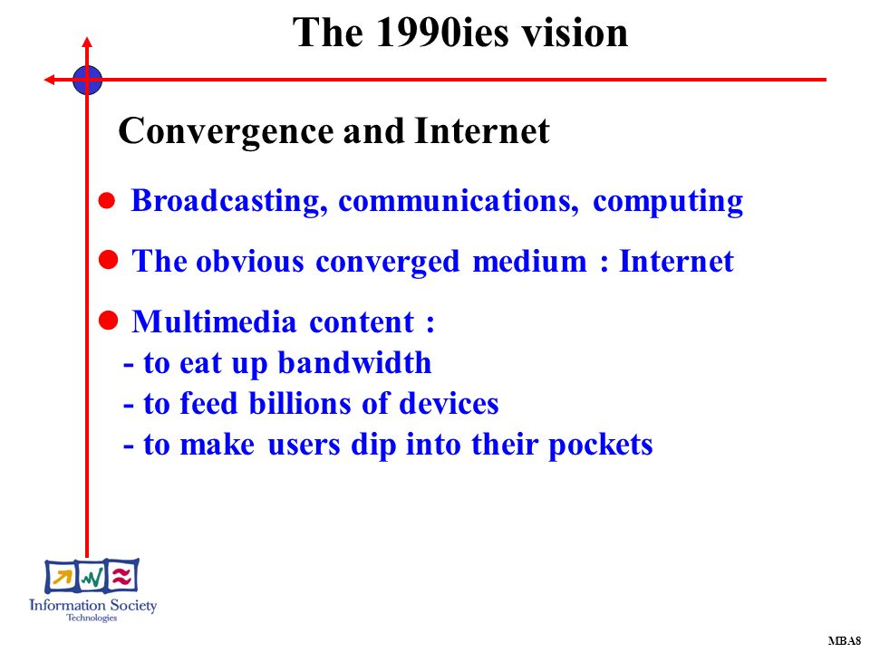 MBA8 Convergence and Internet Broadcasting, communications, computing The obvious converged medium : Internet Multimedia content : - to eat up bandwidth - to feed billions of devices - to make users dip into their pockets The 1990ies vision