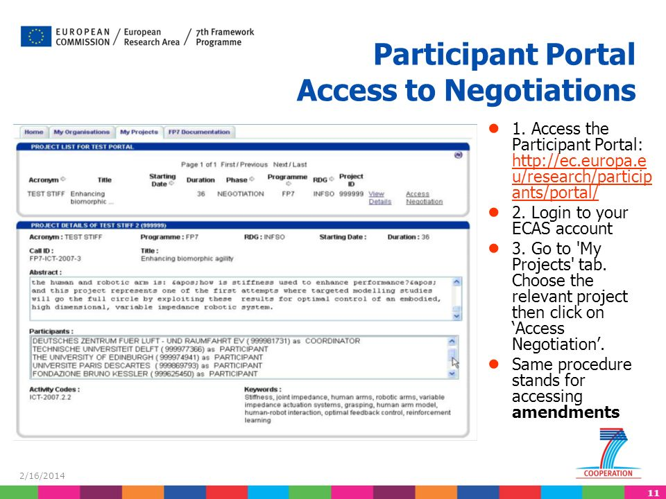11 2/16/2014 Participant Portal Access to Negotiations 1.