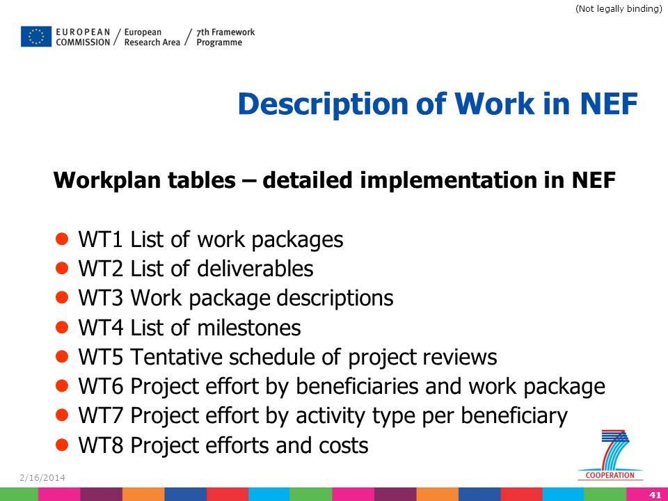 41 2/16/2014 Description of Work in NEF Workplan tables – detailed implementation in NEF WT1 List of work packages WT2 List of deliverables WT3 Work package descriptions WT4 List of milestones WT5 Tentative schedule of project reviews WT6 Project effort by beneficiaries and work package WT7 Project effort by activity type per beneficiary WT8 Project efforts and costs (Not legally binding)