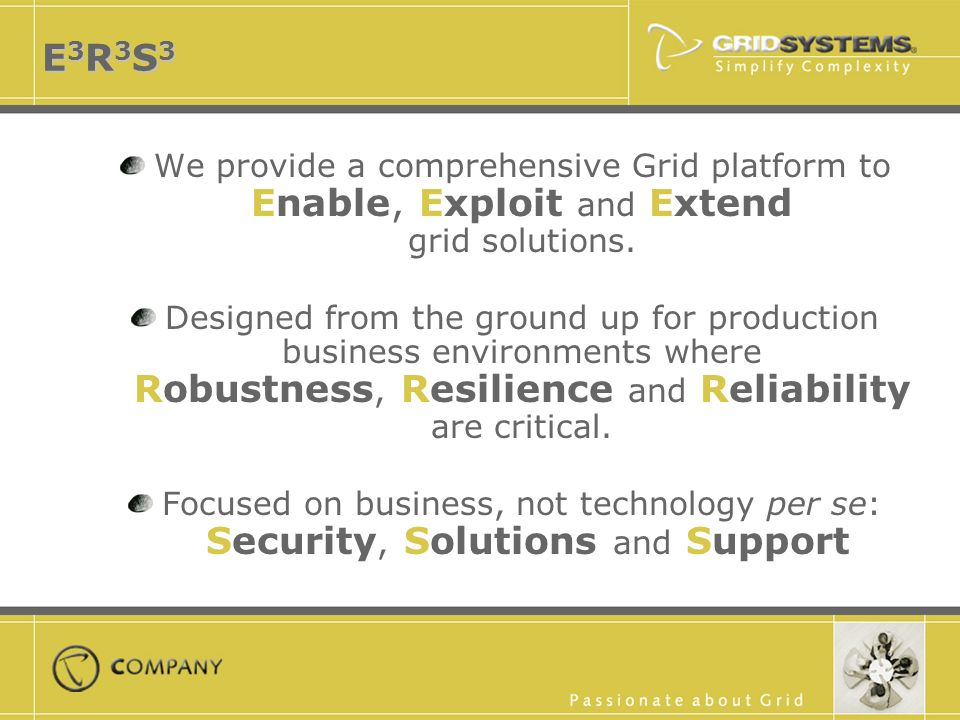 E3R3S3E3R3S3E3R3S3E3R3S3 We provide a comprehensive Grid platform to Enable, Exploit and Extend grid solutions.