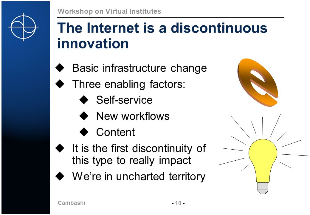 Cambashi - 10 - Workshop on Virtual Institutes The Internet is a discontinuous innovation Basic infrastructure change Three enabling factors: Self-service New workflows Content It is the first discontinuity of this type to really impact Were in uncharted territory