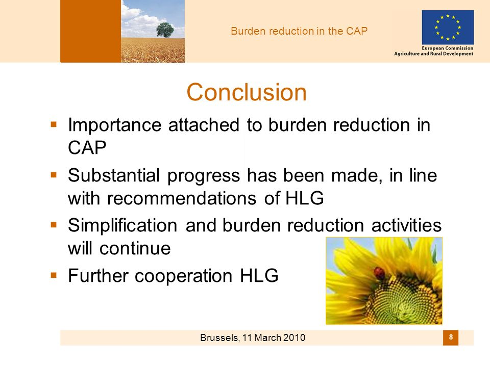 Burden reduction in the CAP Brussels, 11 March 2010 8 Conclusion Importance attached to burden reduction in CAP Substantial progress has been made, in line with recommendations of HLG Simplification and burden reduction activities will continue Further cooperation HLG