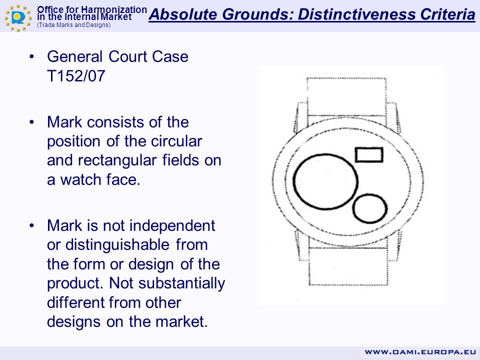 Office for Harmonization in the Internal Market (Trade Marks and Designs) Absolute Grounds: Distinctiveness Criteria General Court Case T152/07 Mark consists of the position of the circular and rectangular fields on a watch face.
