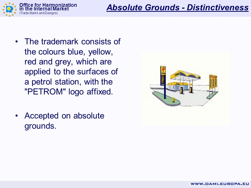 Office for Harmonization in the Internal Market (Trade Marks and Designs) Absolute Grounds - Distinctiveness The trademark consists of the colours blu