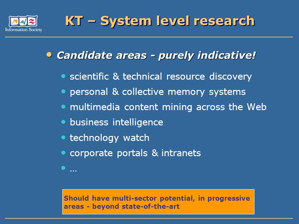 KT – System level research Candidate areas - purely indicative.