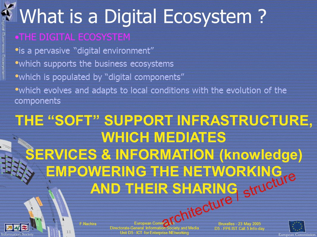 European Commission Directorate-General Information Society and Media Unit D5 : ICT for Enterprise NEtworking F.NachiraBruxelles - 23 May 2005 D5 - FP6 IST Call 5 Info-day 11 What is a Digital Ecosystem .