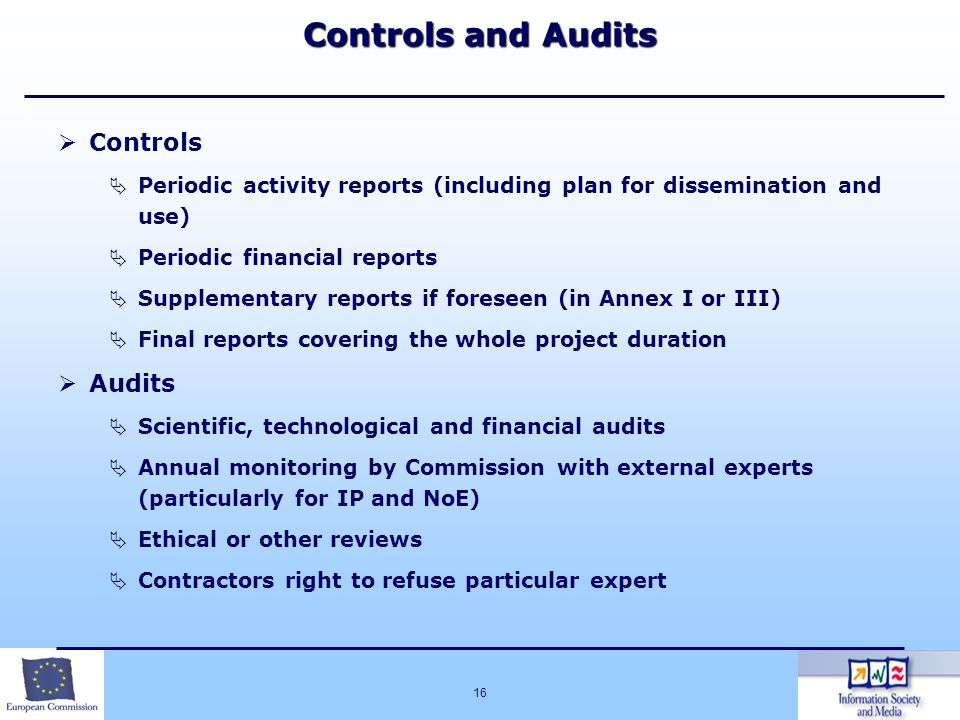 16 Controls and Audits Controls Periodic activity reports (including plan for dissemination and use) Periodic financial reports Supplementary reports