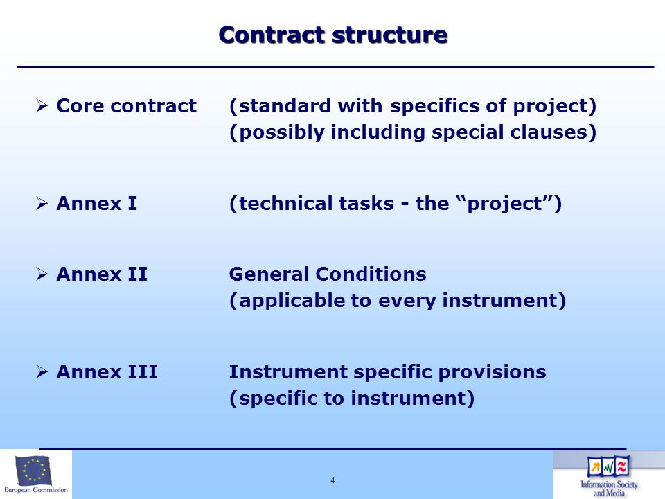 4 Core contract(standard with specifics of project) (possibly including special clauses) Annex I (technical tasks - the project) Annex II General Cond