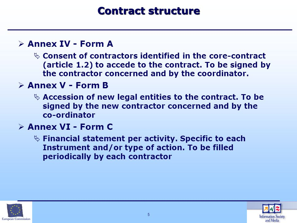 5 Annex IV - Form A Consent of contractors identified in the core-contract (article 1.2) to accede to the contract. To be signed by the contractor con