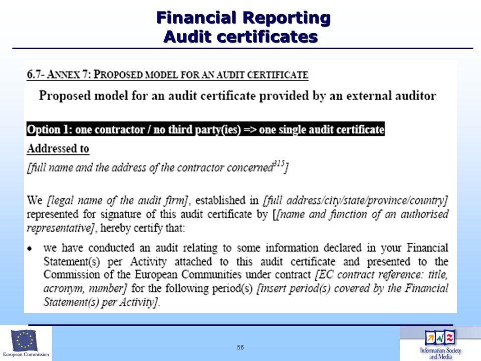 56 Financial Reporting Audit certificates Financial Reporting Audit certificates