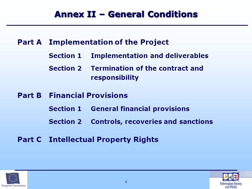 6 Annex II – General Conditions Part AImplementation of the Project Section 1Implementation and deliverables Section 2Termination of the contract and