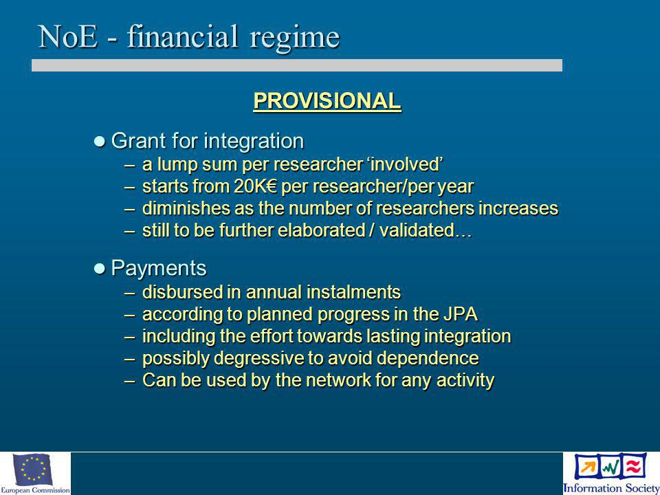 NoE - financial regime PROVISIONAL Grant for integration Grant for integration –a lump sum per researcher involved –starts from 20K per researcher/per