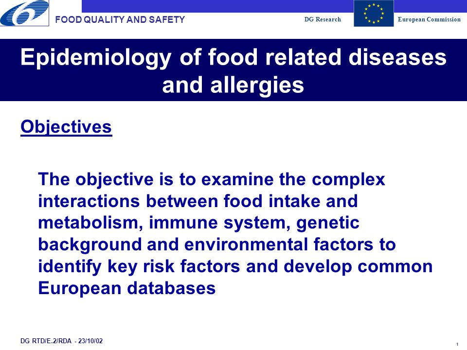 DG ResearchEuropean Commission 2 Epidemiology of food related diseases and allergies FOOD QUALITY AND SAFETY DG RTD/E.2/RDA - 23/10/02 Production systems: Agriculture Fisheries Aquaculture Processing Safe, high-quality foods Health and well-being of consumers Food intake Environ- mental factors From Fork to Farm From Farm to Fork