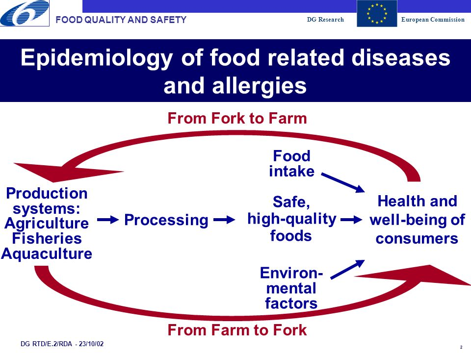 DG ResearchEuropean Commission 3 Epidemiology of food related diseases and allergies FOOD QUALITY AND SAFETY DG RTD/E.2/RDA - 23/10/02 Human Being Food/Diet Environmental Factors Agriculture Fisheries From Farm to Fork From Fork to Farm e.g.