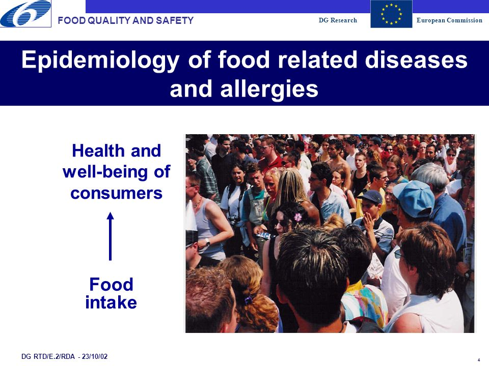 DG ResearchEuropean Commission 4 Epidemiology of food related diseases and allergies FOOD QUALITY AND SAFETY DG RTD/E.2/RDA - 23/10/02 Food intake Health and well-being of consumers