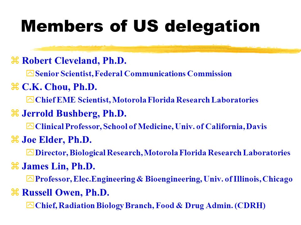 Members of US delegation zRobert Cleveland, Ph.D.