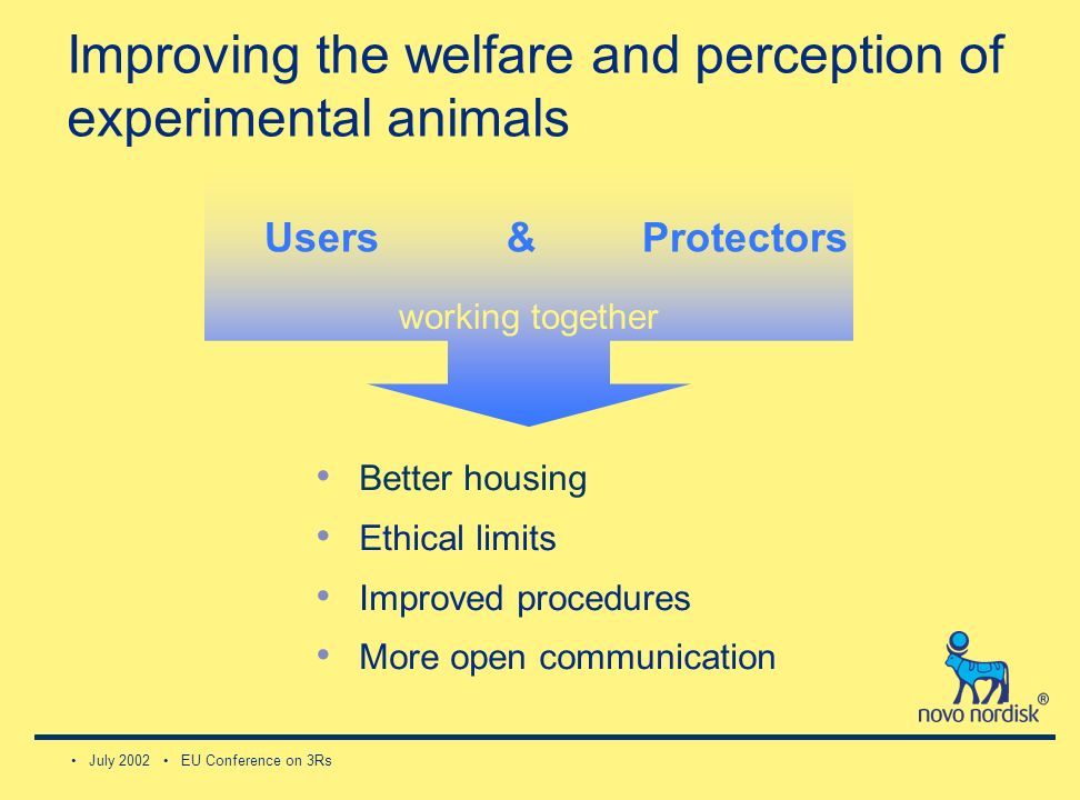 July 2002 EU Conference on 3Rs working together Better housing Ethical limits Improved procedures More open communication Users & Improving the welfare and perception of experimental animals Protectors