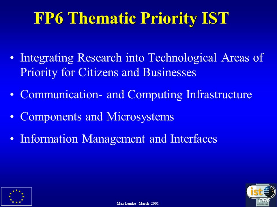 Max Lemke - March 2001 FP6 Thematic Priority IST Integrating Research into Technological Areas of Priority for Citizens and Businesses Communication-