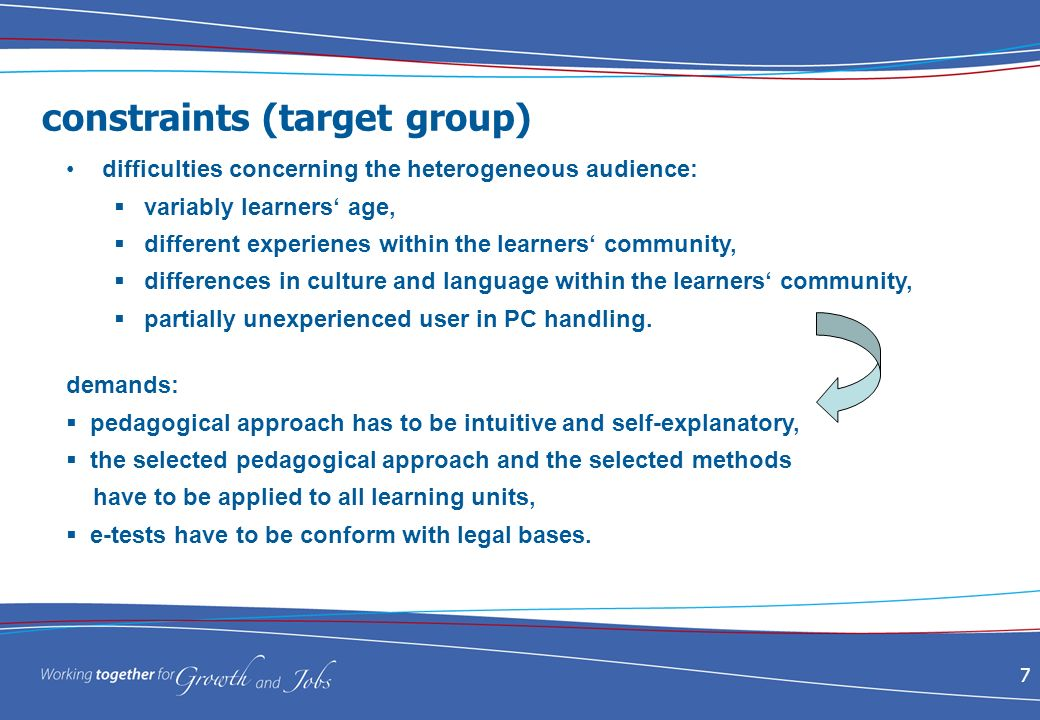 7 constraints (target group) difficulties concerning the heterogeneous audience: variably learners age, different experienes within the learners community, differences in culture and language within the learners community, partially unexperienced user in PC handling.