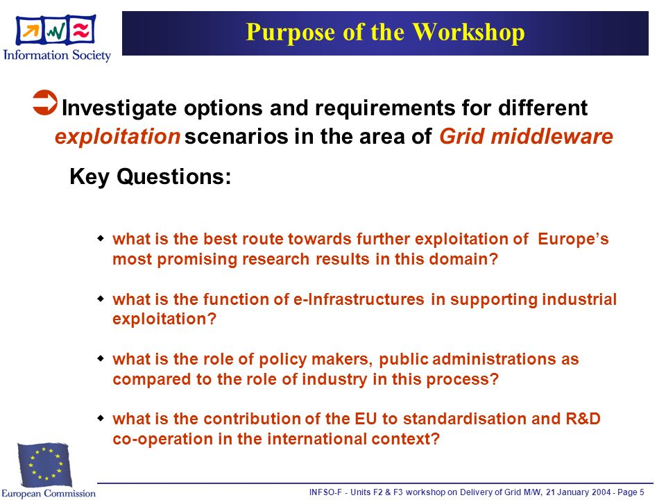 INFSO-F - Units F2 & F3 workshop on Delivery of Grid M/W, 21 January 2004 - Page 5 Purpose of the Workshop Investigate options and requirements for different exploitation scenarios in the area of Grid middleware Key Questions: what is the best route towards further exploitation of Europes most promising research results in this domain.