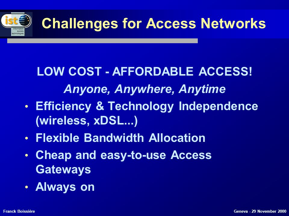Franck Boissière Geneva - 29 November 2000 Challenges for Access Networks LOW COST - AFFORDABLE ACCESS.