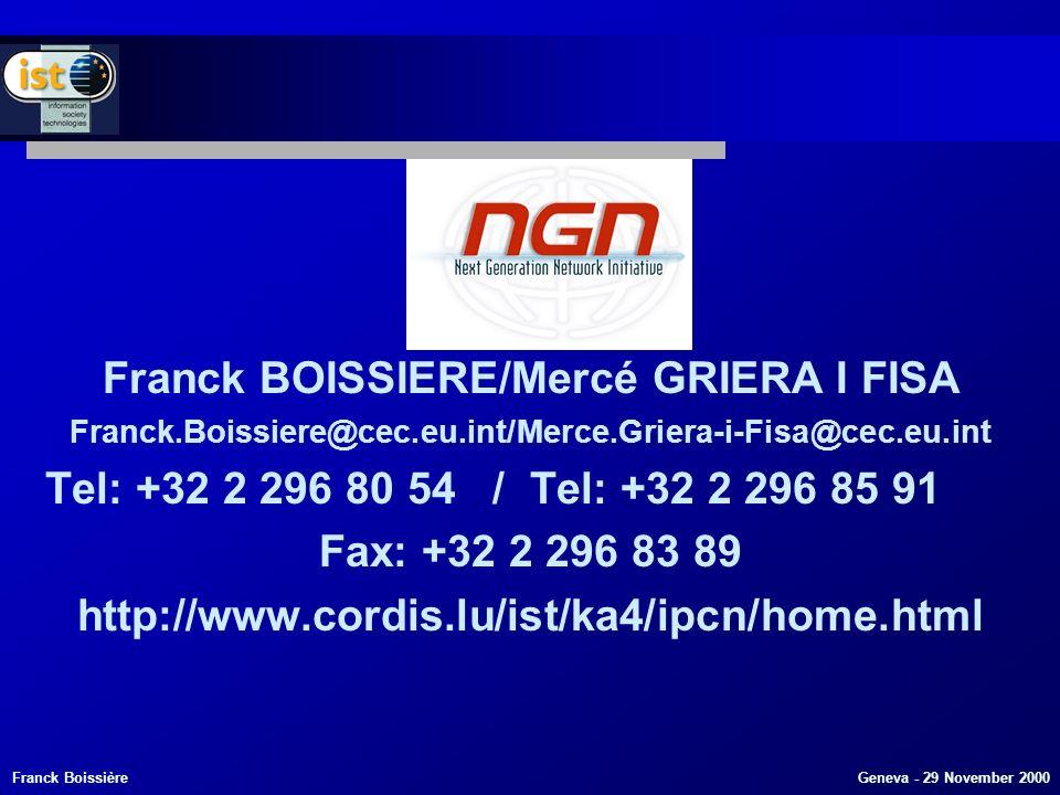 Franck Boissière Geneva - 29 November 2000 Franck BOISSIERE/Mercé GRIERA I FISA Franck.Boissiere@cec.eu.int/Merce.Griera-i-Fisa@cec.eu.int Tel: +32 2 296 80 54 / Tel: +32 2 296 85 91 Fax: +32 2 296 83 89 http://www.cordis.lu/ist/ka4/ipcn/home.html