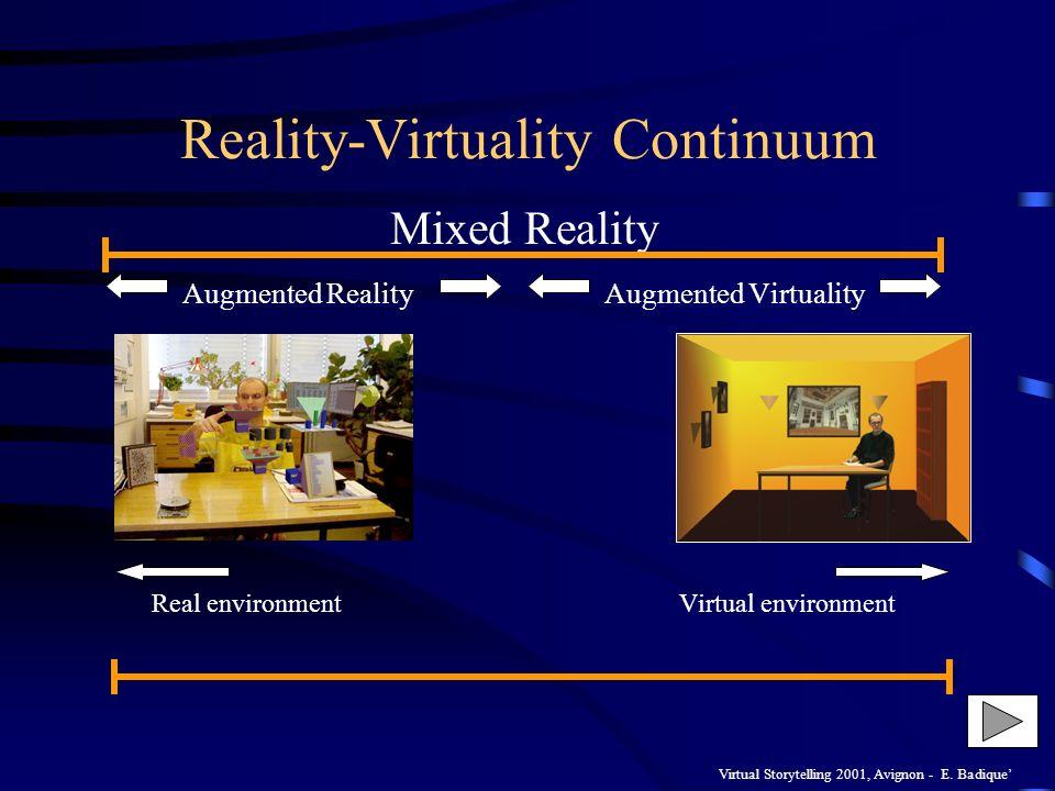 Virtual Storytelling 2001, Avignon - E. Badique Reality-Virtuality Continuum Mixed Reality Augmented Reality Augmented Virtuality Real environmentVirt