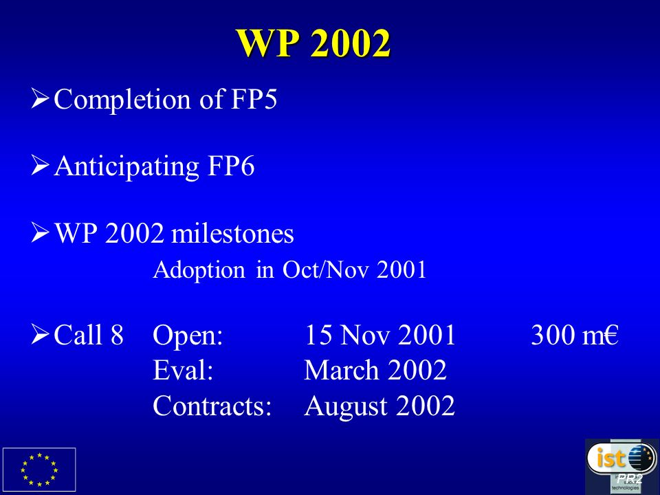 WP 2002 Completion of FP5 Anticipating FP6 WP 2002 milestones Adoption in Oct/Nov 2001 Call 8Open:15 Nov m Eval:March 2002 Contracts:August 2002 PR2