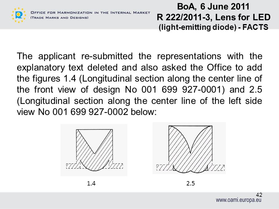 The applicant re-submitted the representations with the explanatory text deleted and also asked the Office to add the figures 1.4 (Longitudinal sectio
