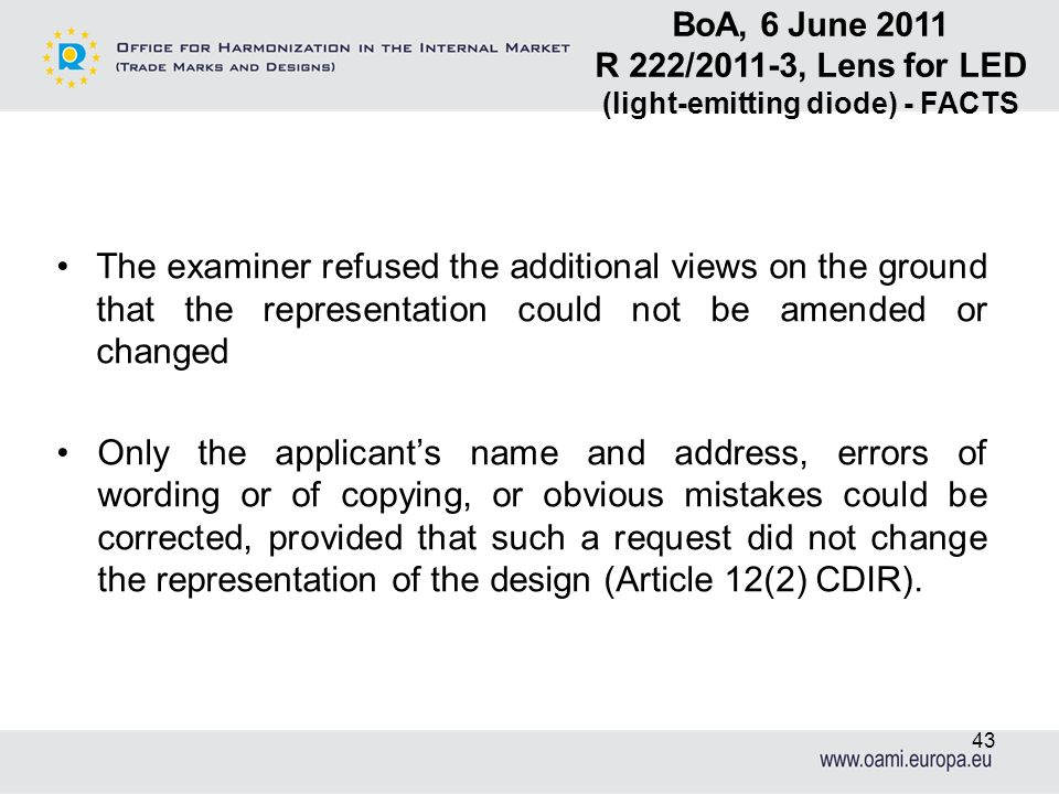 The examiner refused the additional views on the ground that the representation could not be amended or changed Only the applicants name and address,