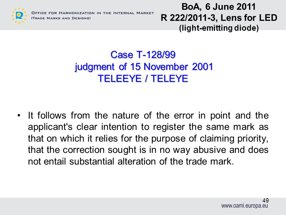Case T-128/99 judgment of 15 November 2001 judgment of 15 November 2001 TELEEYE / TELEYE It follows from the nature of the error in point and the appl