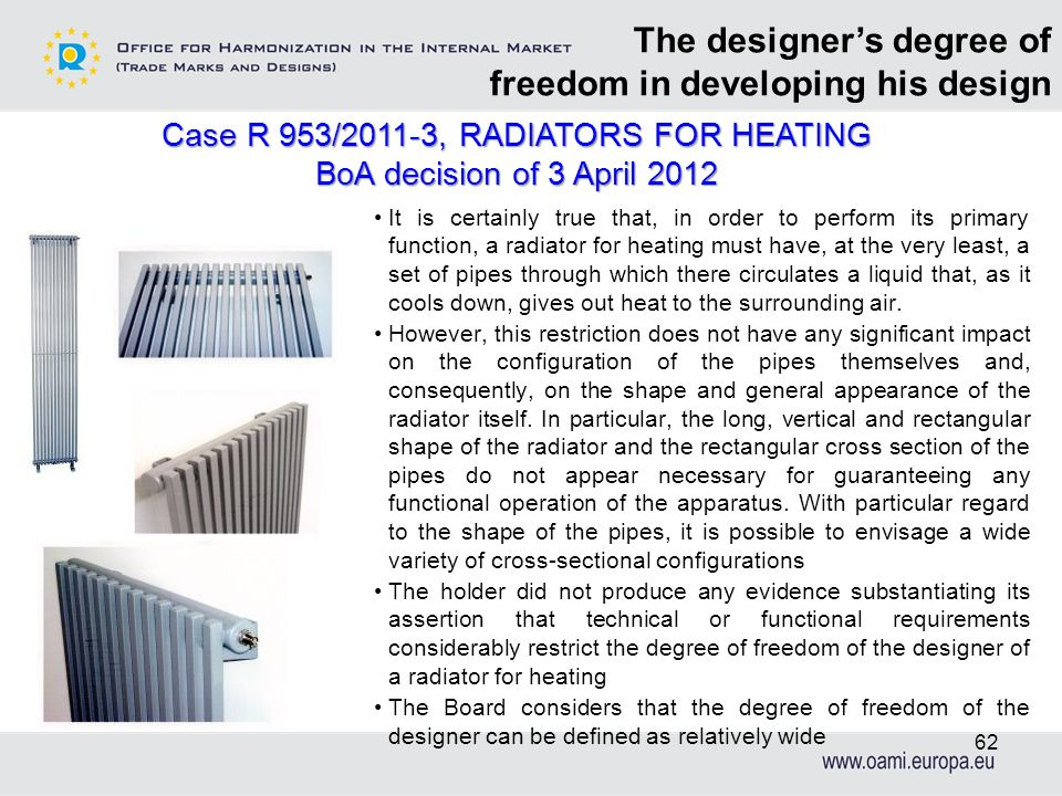 It is certainly true that, in order to perform its primary function, a radiator for heating must have, at the very least, a set of pipes through which