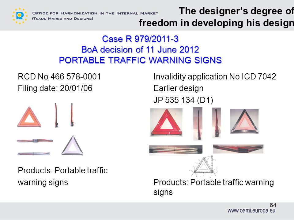 The designers degree of freedom in developing his design Case R 979/2011-3 BoA decision of 11 June 2012 PORTABLE TRAFFIC WARNING SIGNS RCD No 466 578-
